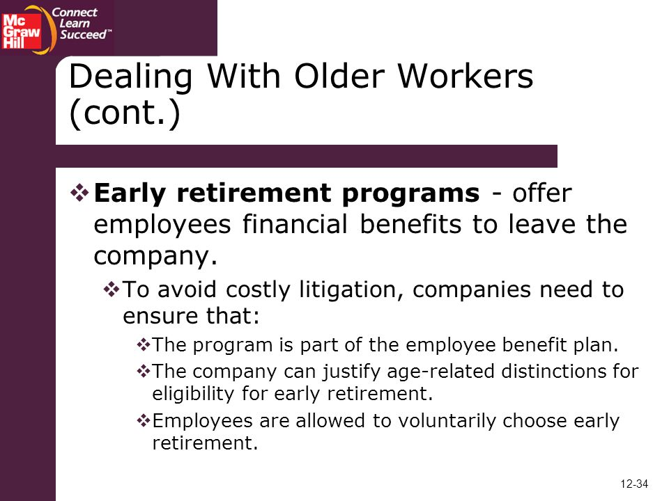 Chapter 12 Special Challenges in Career Management - ppt video - retirement programs