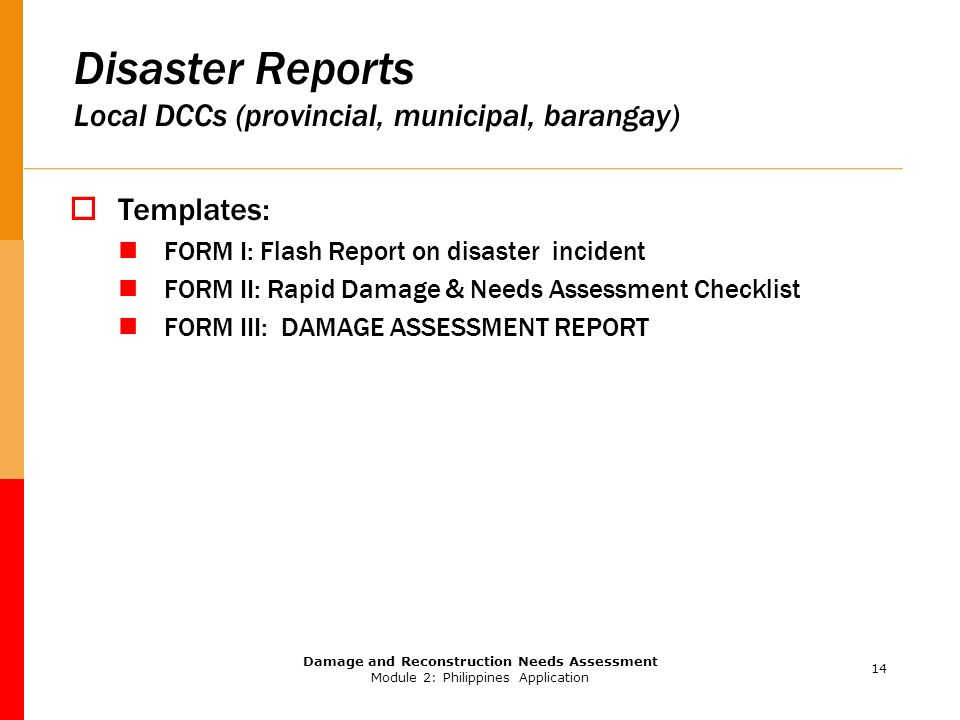 DAMAGE ASSESSMENT AND NEEDS ANALYSIS - ppt video online download - assessment report format