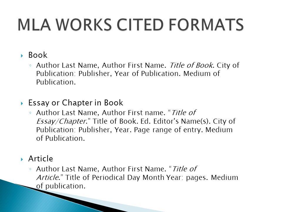mla formats for works cited