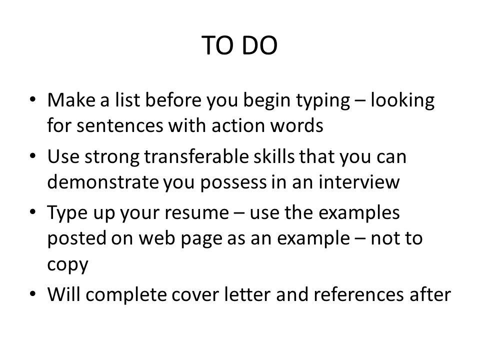 typing up a resume - Romeolandinez
