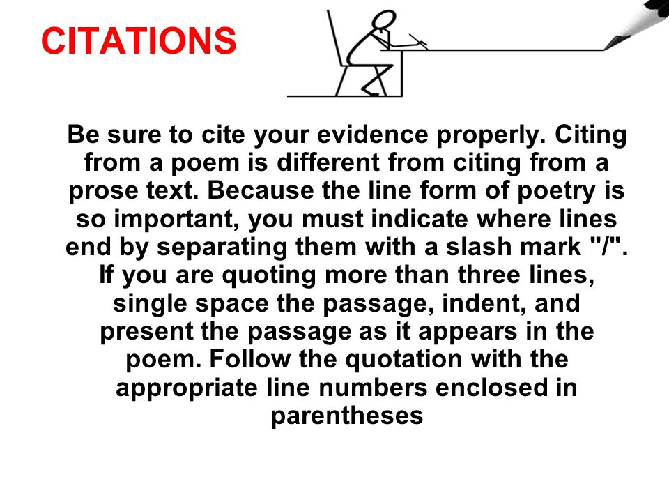 Quoting poetry lines in an essay