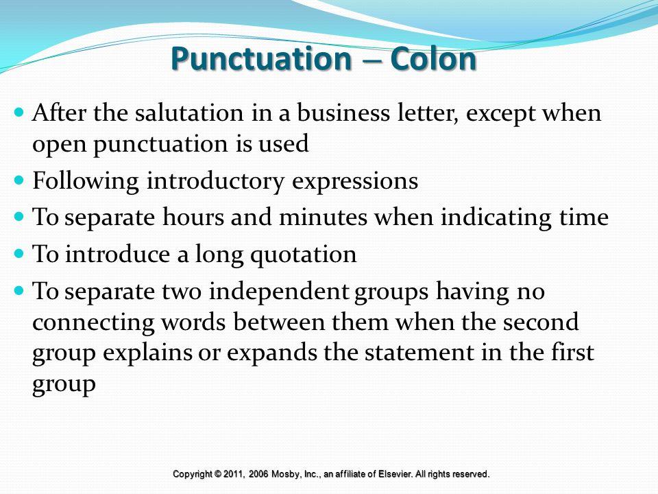Salutation Punctuation oakandale