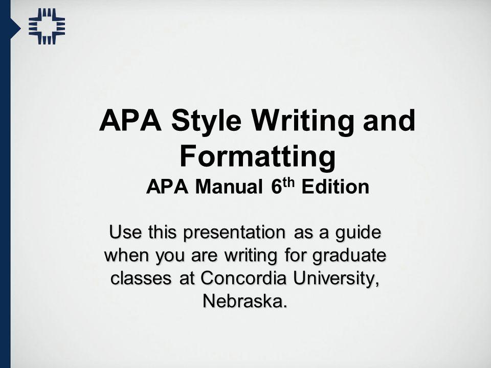 APA Style Writing and Formatting APA Manual 6th Edition - ppt video - apa format edition
