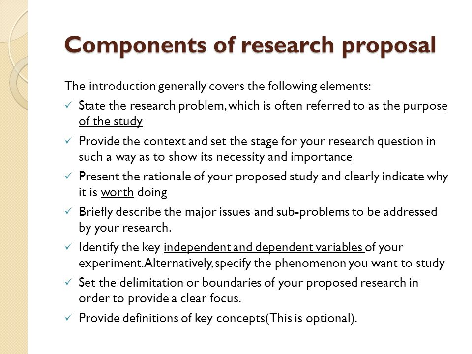 Components Of Research Proposal Writing \u2013 Components of a Research