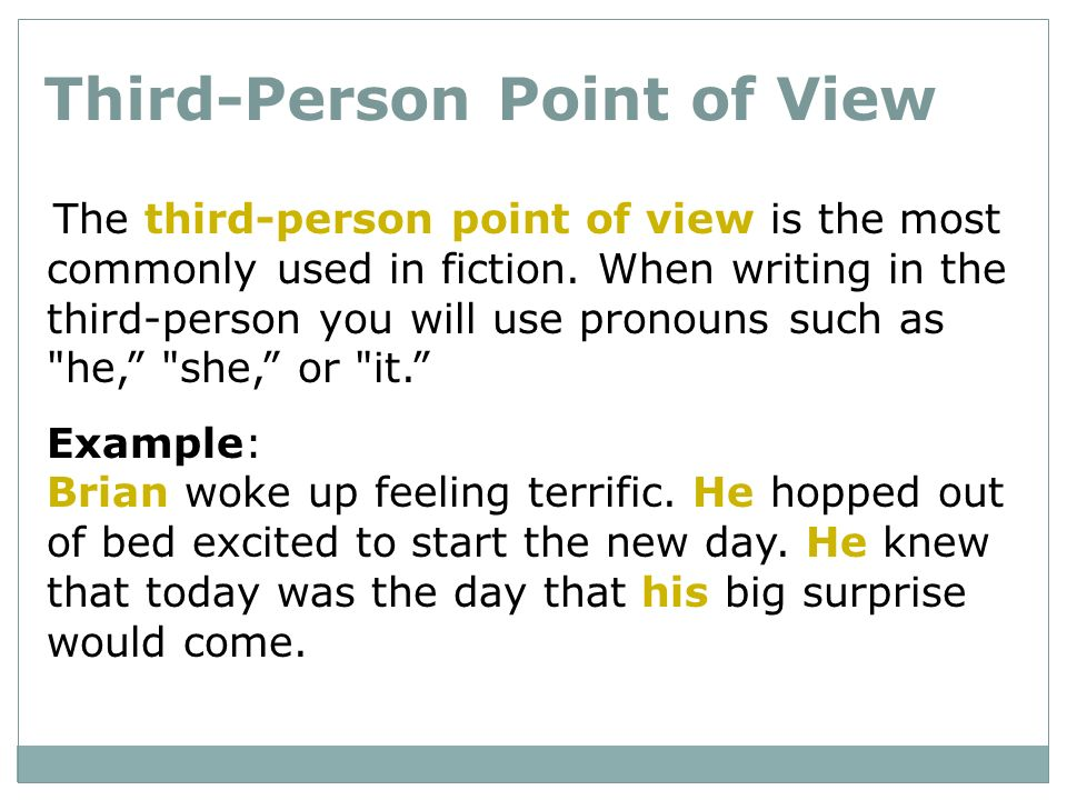 write 3rd person narrative essay When writing a personal narrative -- a story about an event that happened to you -- you can write in third person by using your first name or inventing a name rather than using first-person pronouns like i, me, we and us.