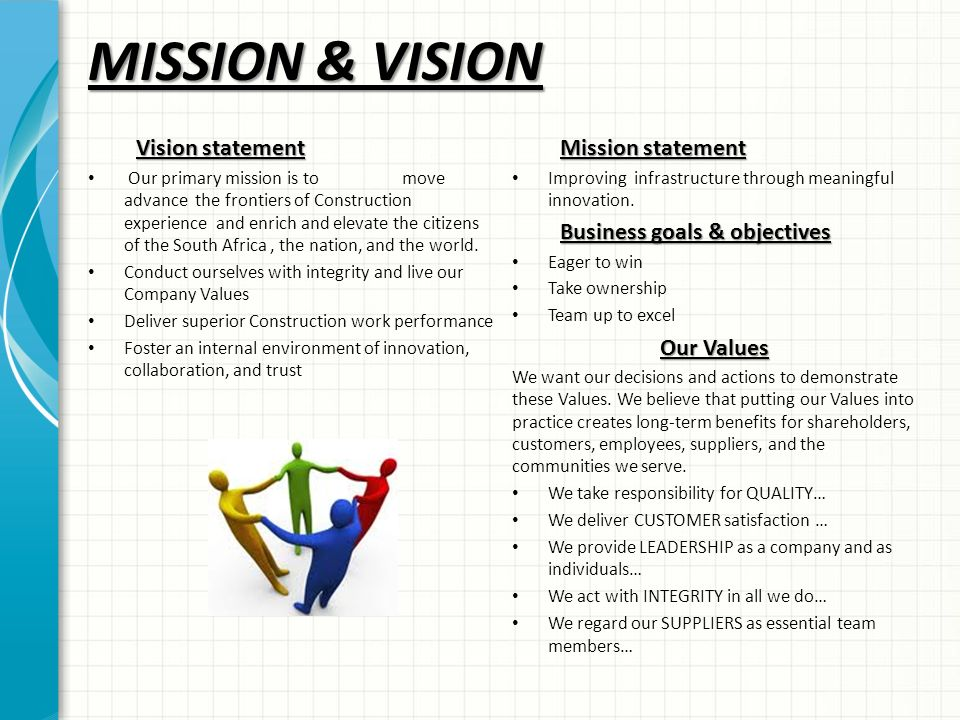 Sample construction company vision statement 2018 - Custom courseworks