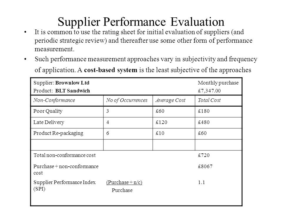Performance evaluation sample