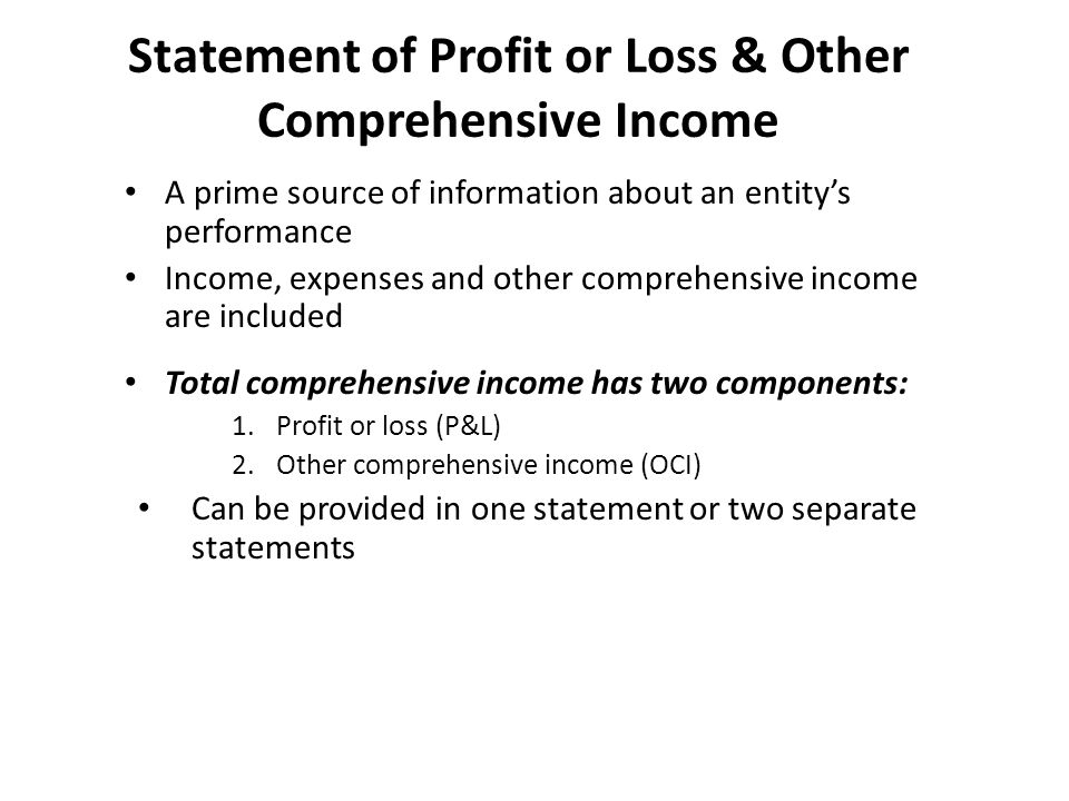 ACTG 6580 Chapters 4 and 5 \u2013 Income Statement, Statement of - loss profit statement