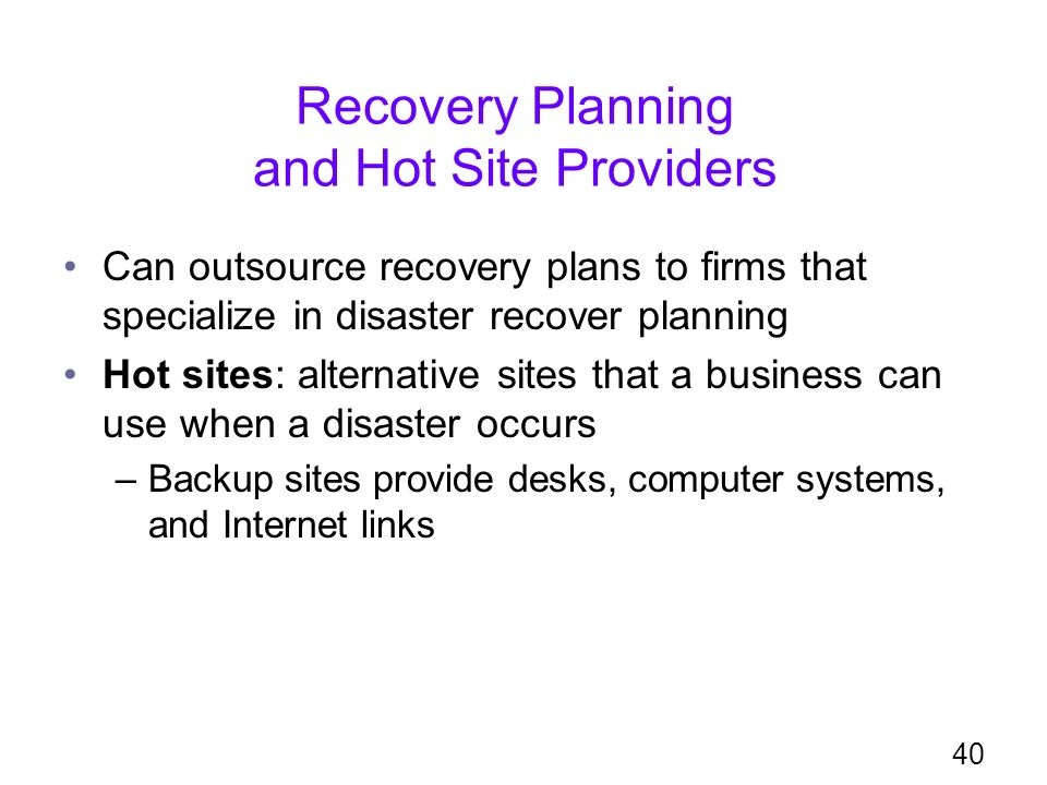 Risks, Security, and Disaster Recovery - ppt download - recovery plans