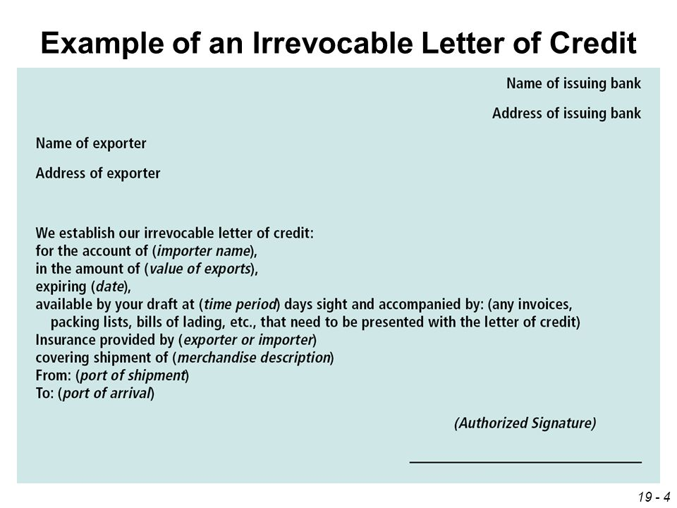 Irrevocable Letter Of Credit Iloc Investopedia Financing International Trade Ppt Video Online Download