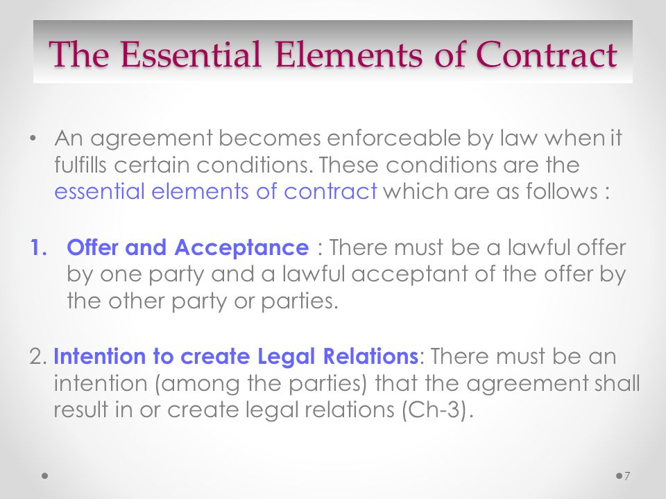 Contract Essential Elements Essential Elements Of Valid Contract