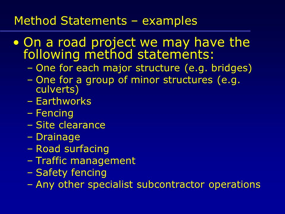 Construction Health and Safety Management - ppt download - method statements examples