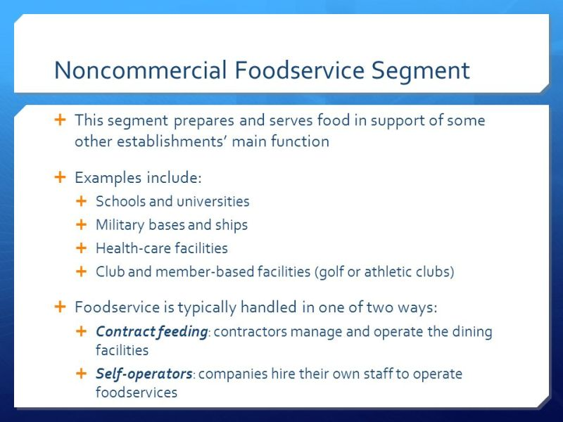 Difference Between Commercial And Noncommercial Food Service ...
