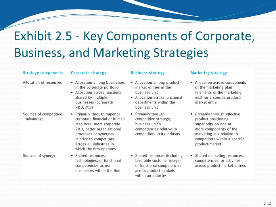 The Marketing Implications of Corporate and Business Strategies - Components Marketing Plan