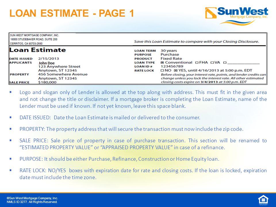 Mortgage Loan Estimate Mortgage Loan Amount
