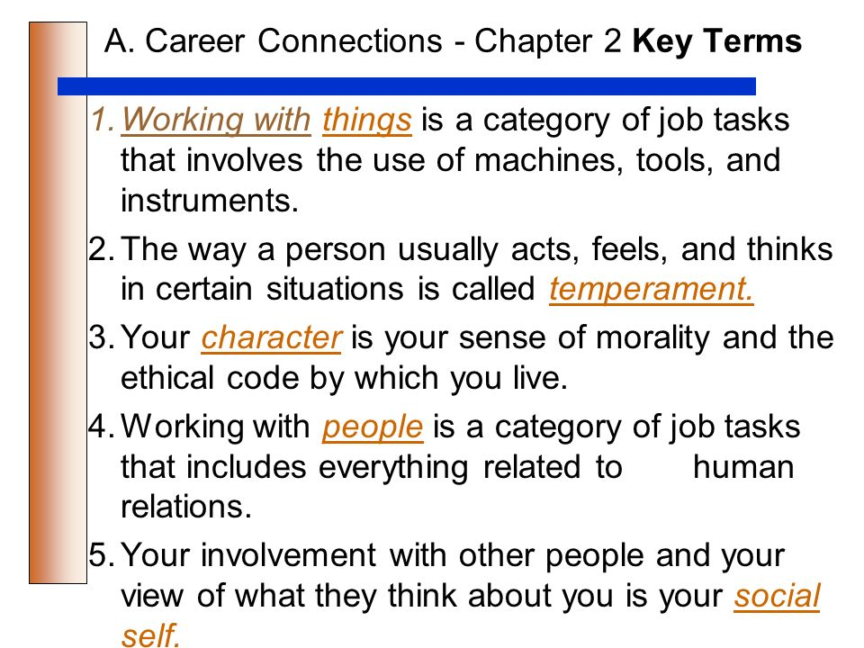 CAREER CONNECTIONS CHAPTER 2 KNOWING YOURSELF INTERESTS AND - avocational interests