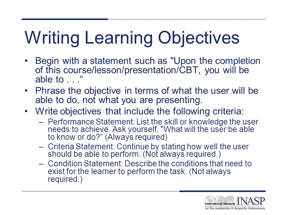 Developing and writing learning objectives - ppt download