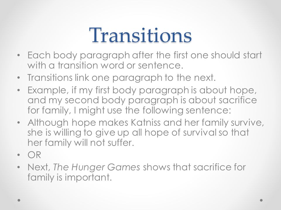 Transition Start Words Sentence