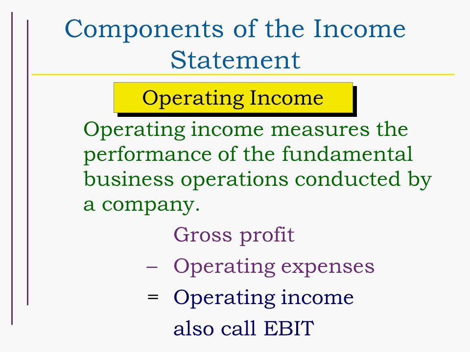 Chapter 4 Schedule 9/26 Income Measurement and Income Statement Form - components of income statement