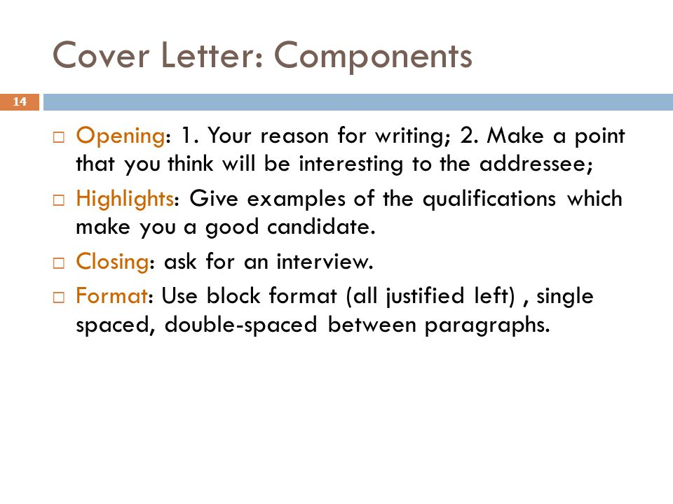 components of a cover letter