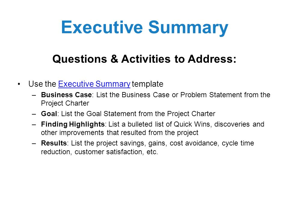 Project Summary Template Executive Project Summary Template 7+ - business summary template