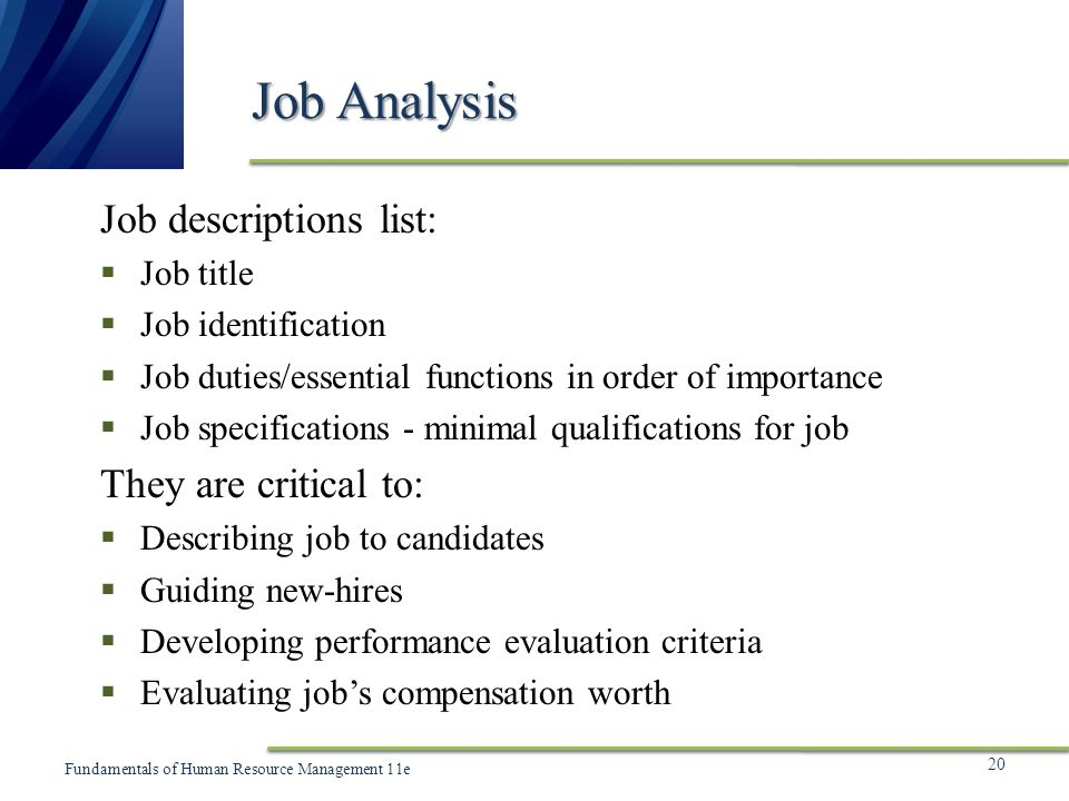 Chapter 5 Human Resource Planning and Job Analysis - ppt video - job qualifications list