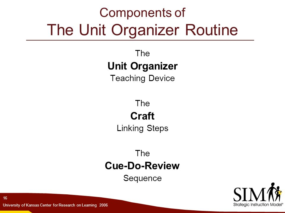 WARNING Making, carrying, or using overhead transparencies for - unit organizer routine template