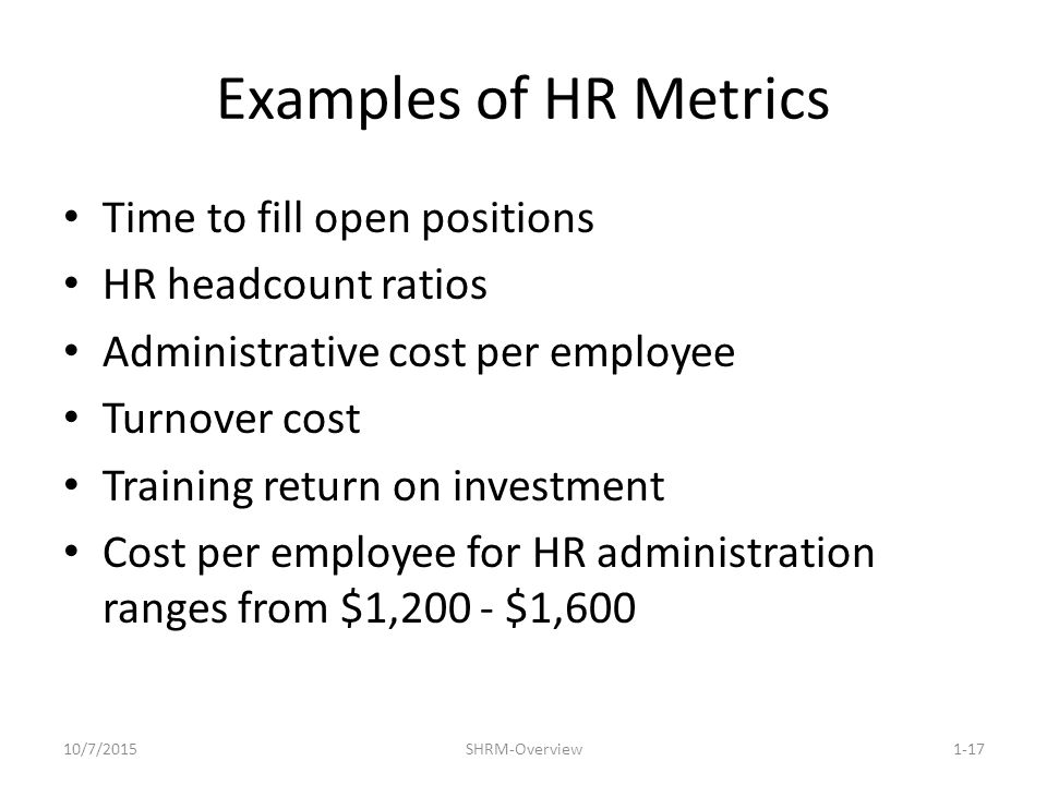 Strategic Human Resource Management An Overview - ppt video online - human resources metrics examples