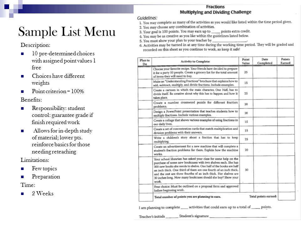 Strategies for Differentiating the Curriculum - ppt video online - menu list sample