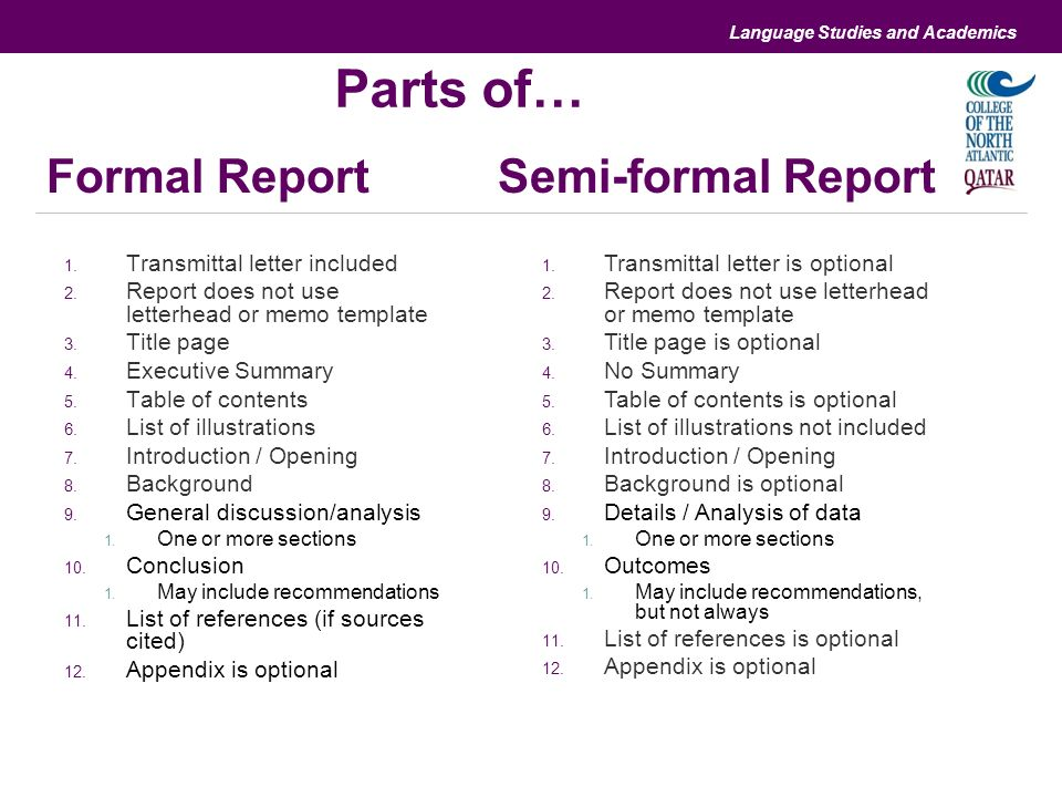 Perfect ... Differences And Similarities With Informal And Formal Reports   Formal  Report Format Template ... Amazing Pictures