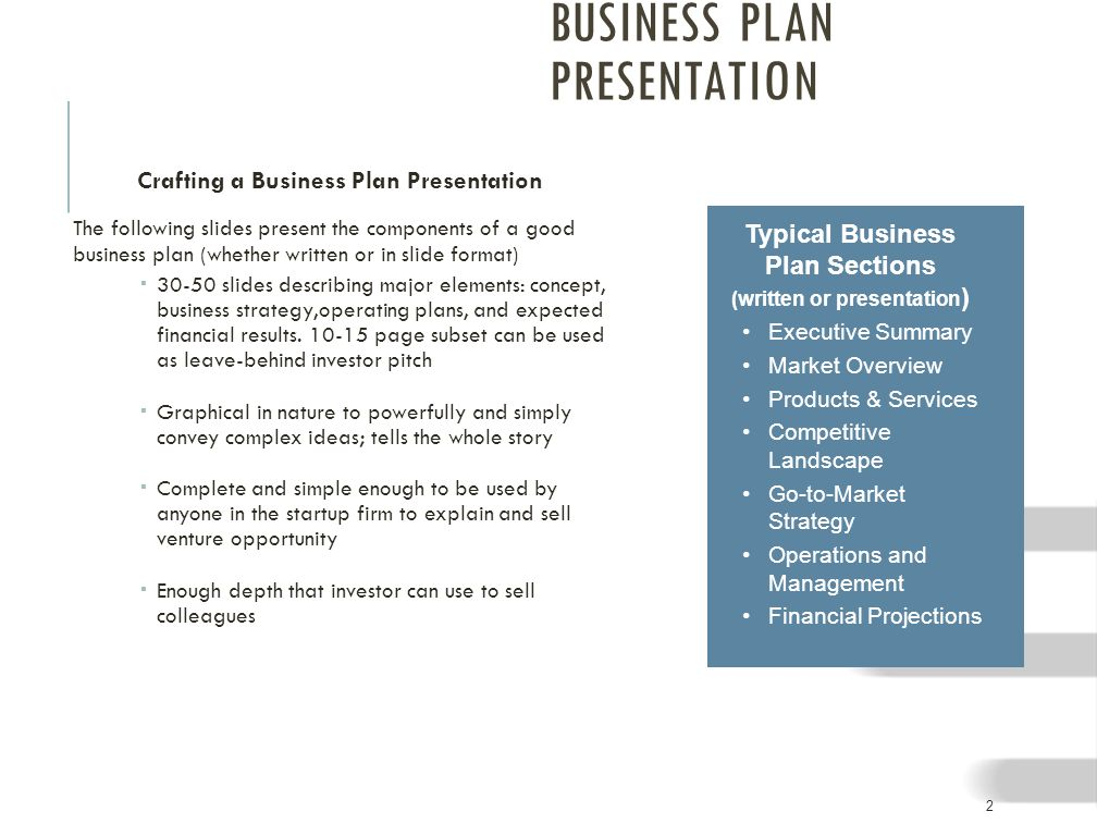 The Business Plan Presentation - ppt download - business plans