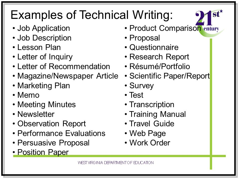 Examples Of Technical Writing Image collections - example cover