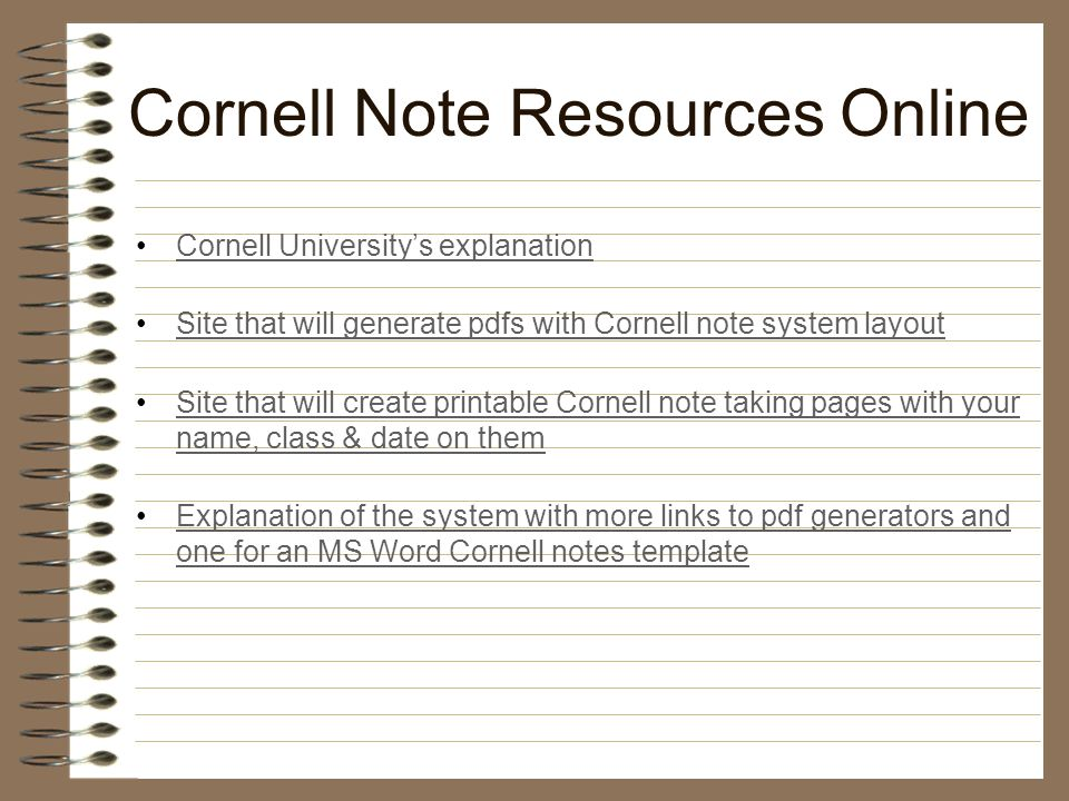 THE MODIFIED CORNELL NOTE TAKING SYSTEM - ppt video online download - cornell note template