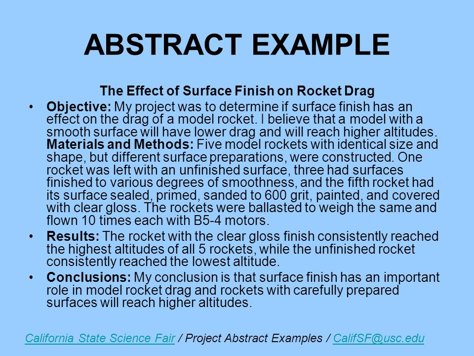 Writing An Abstract For Science Fair