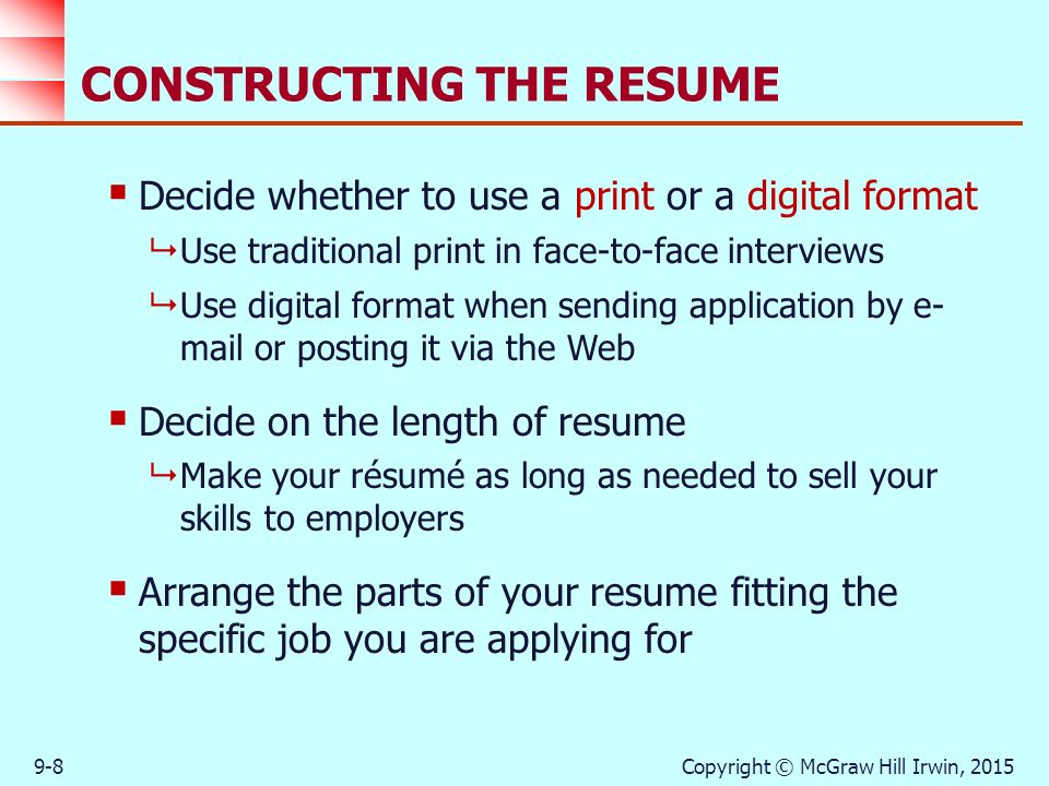 Strategies in the Job-Search Process - ppt download - constructing a resume