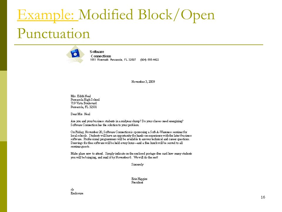 Letter formats block, modified block Oxford Dictionaries
