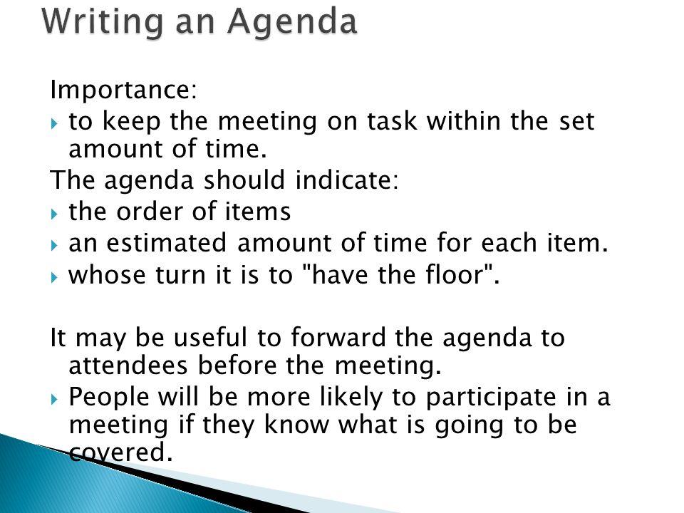 Agenda Format Examples Bizfluent