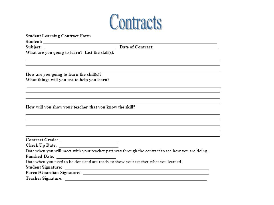 Student Learning Contract - Student Contract Templates