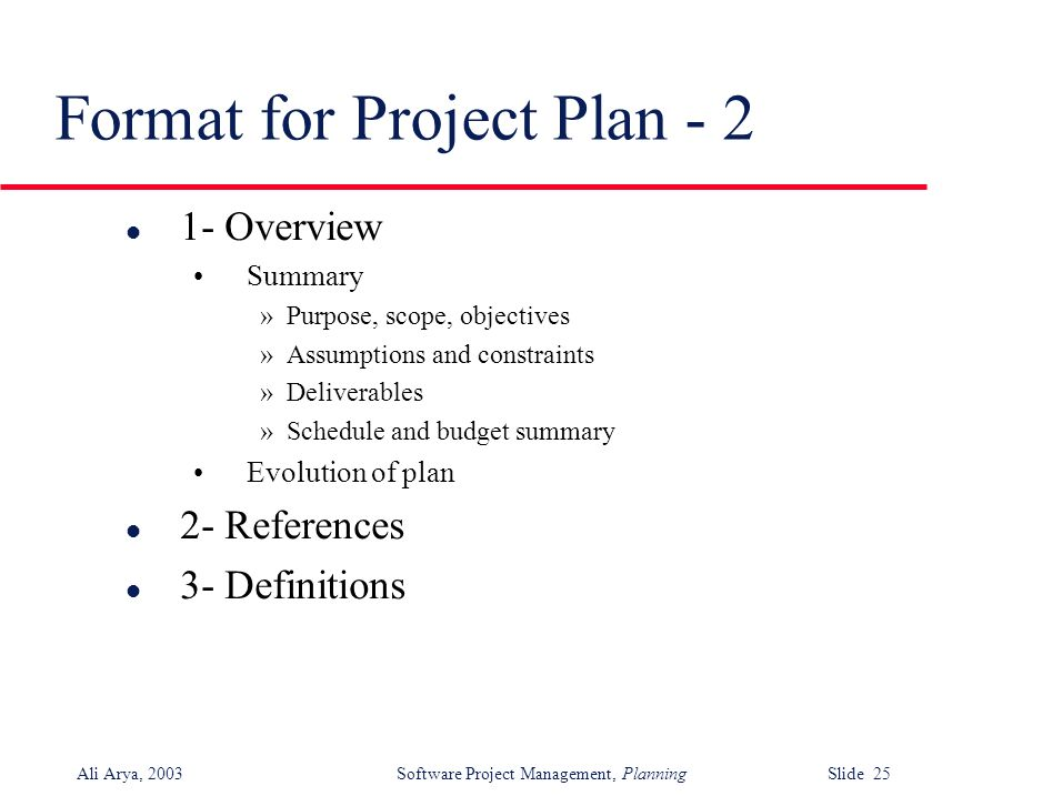 Software Project Planning - ppt download - project plan format