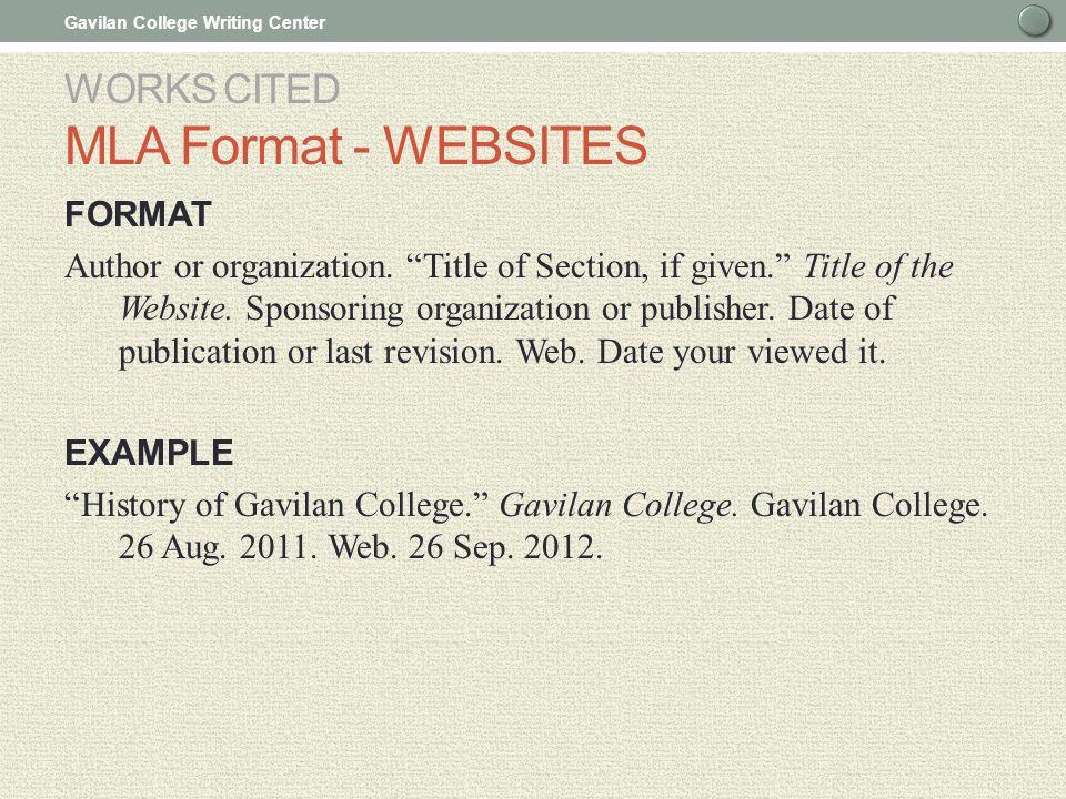 Works cited mla format for websites College paper Help - mla format