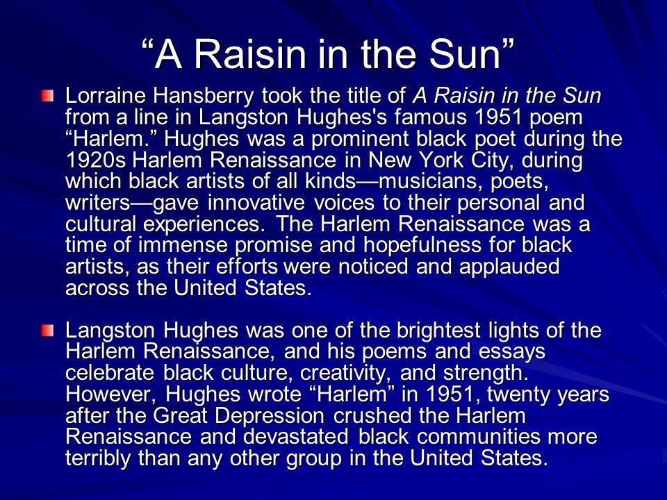 A raisin in a sun by lorraine hansberry essay Custom paper Service
