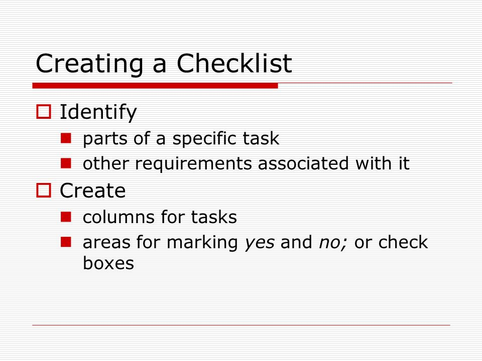 Checklists and Rubrics - ppt video online download - creating checklist