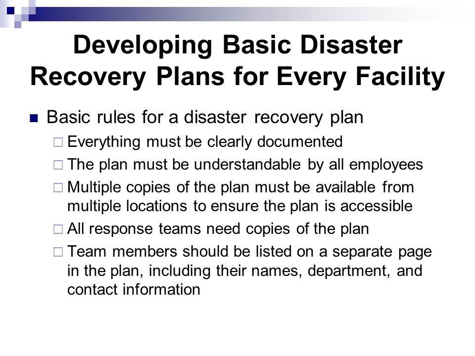 Developing Plans and Procedures - ppt video online download - recovery plans
