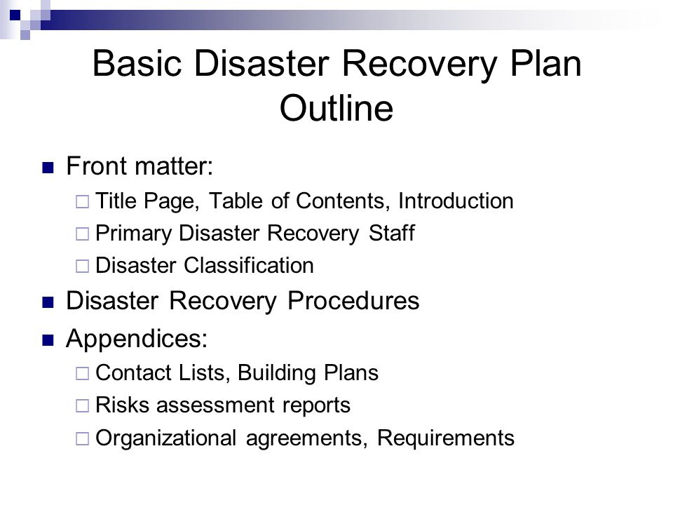 Recovery Plans Title Key Components To Disaster Recovery Disaster - recovery plans