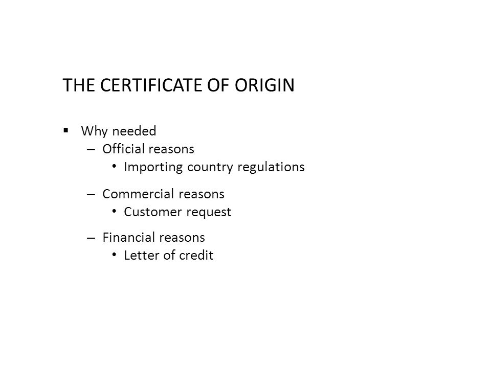 Chapter 4 CARGO DOCUMENTS - ppt video online download - country of origin letter