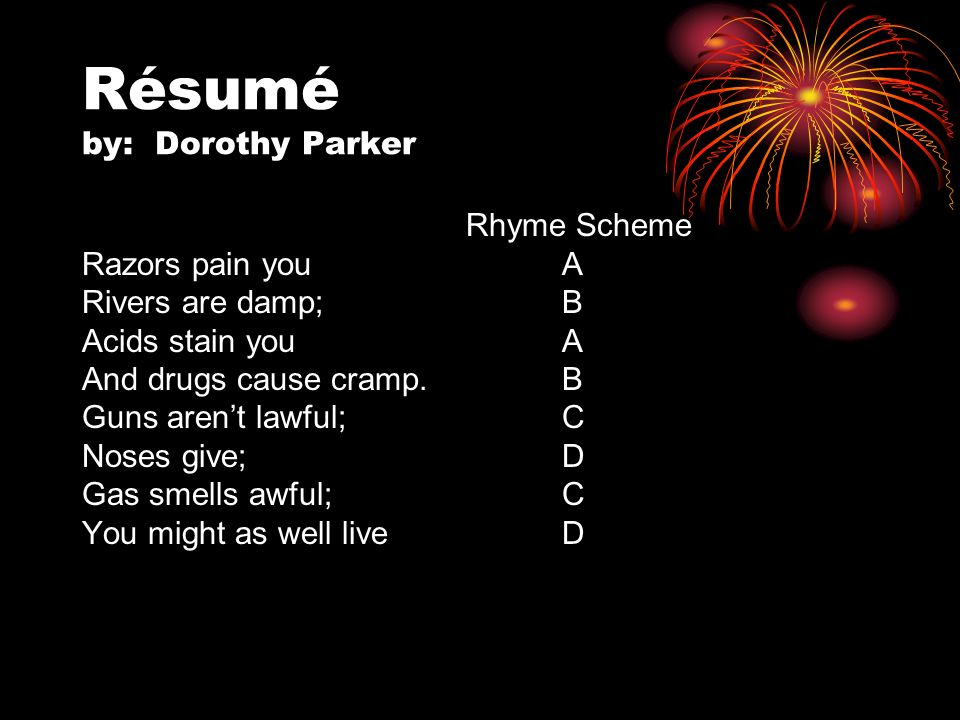 Resume By Dorothy Parker - Fiveoutsiders - dorothy parker resume