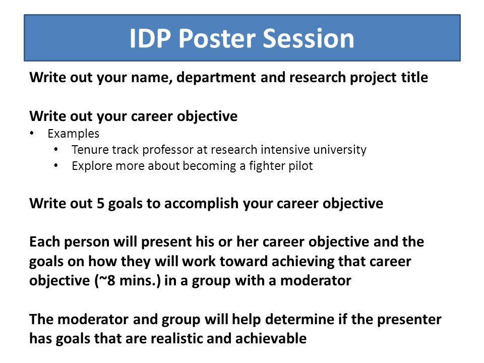 Agenda Introductions Overview of what IDP Is - ppt video online - what are your career objectives