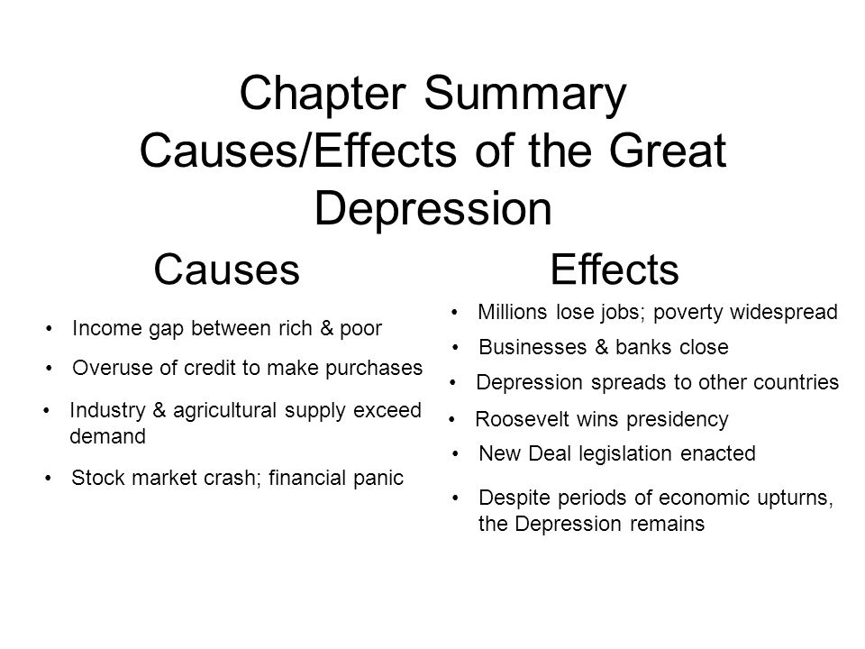 great depression causes and effects