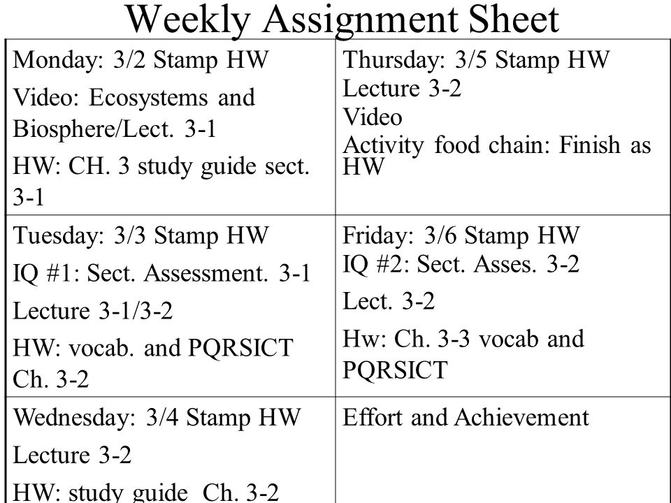 Weekly assignment sheet Term paper Service