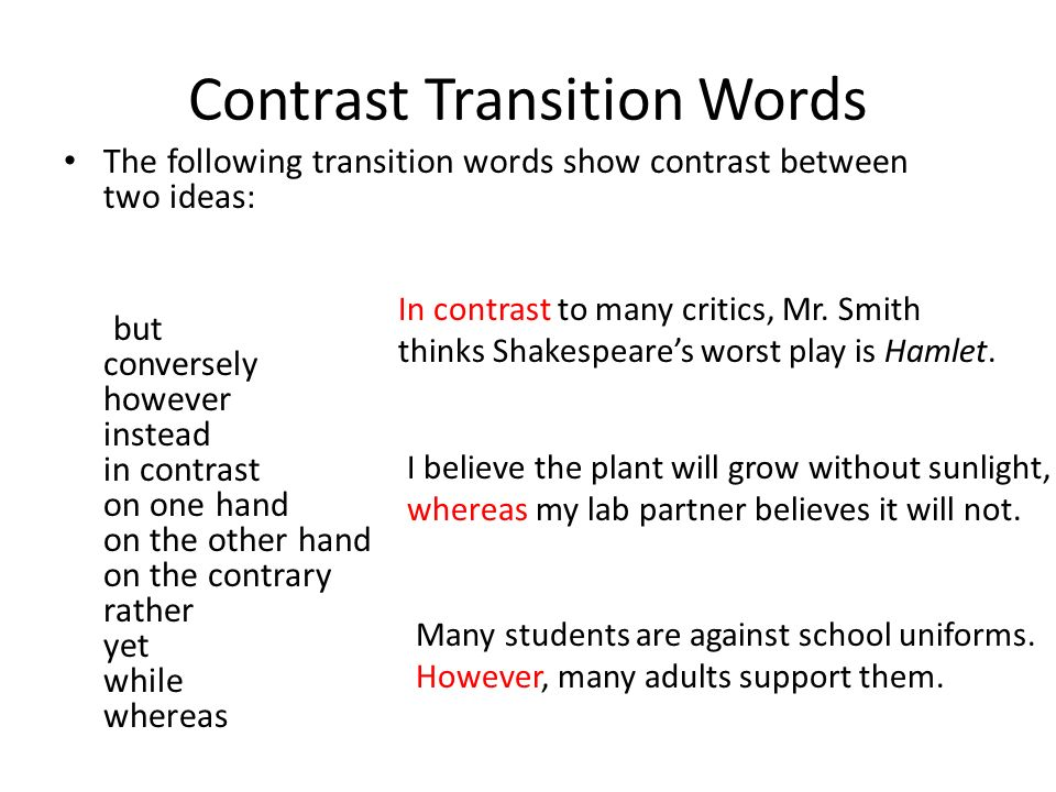 Compare contrast transitional words essays Coursework Academic